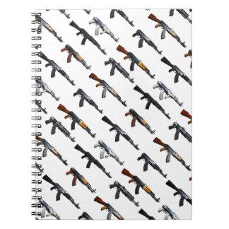 Assault rifle gun pattern spiral notebook