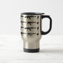 Assault rifle gun pattern travel mug