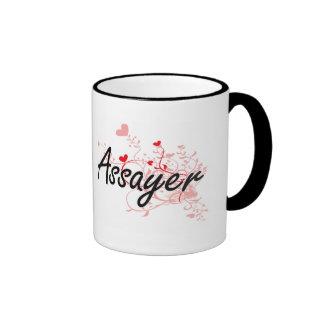 Assayer Artistic Job Design with Hearts Ringer Coffee Mug