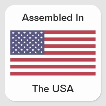 USA Themed Assembled In The USA Square Sticker