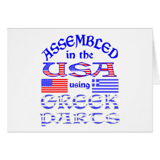 Assembled in USA Using Greek Parts Greeting Cards