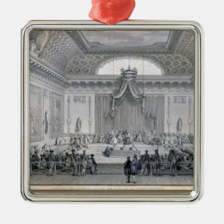 Assemblee des Notables Presided over by Louis Square Metal Christmas Ornament