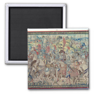Assembling the Riders, from the tapestry of 'David 2 Inch Square Magnet