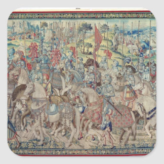 Assembling the Riders, from the tapestry of 'David Square Sticker