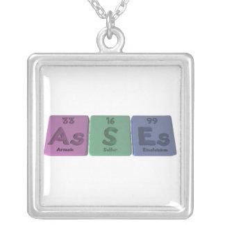 Asses-As-S-Es-Arsenic-Sulfur-Einsteinium Square Pendant Necklace