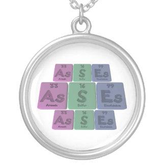 Asses-As-S-Es-Arsenic-Sulfur-Einsteinium Round Pendant Necklace
