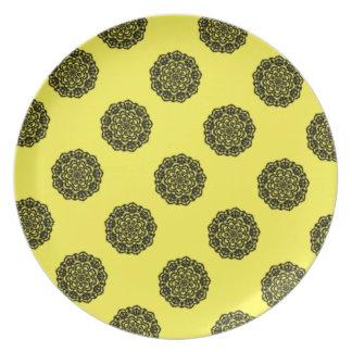 Assiette fleurs jaune