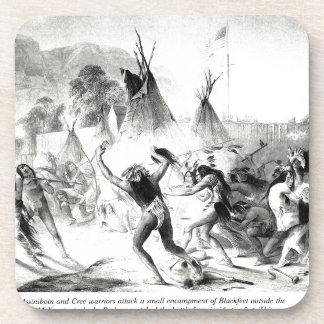 Assiniboin and Cree warriors attack Blackfeet Drink Coaster