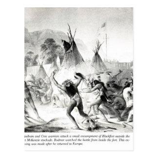 Assiniboin and Cree warriors attack Blackfeet Postcard