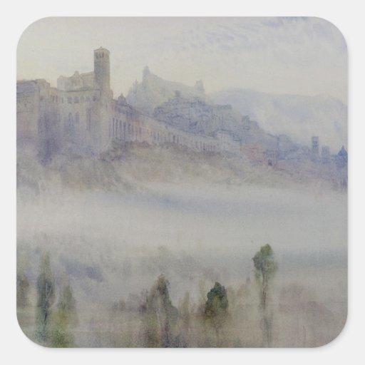 Assisi, madrugada pegatina cuadrada