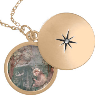 Assisi, St Francis and the birds Gold Plated Necklace
