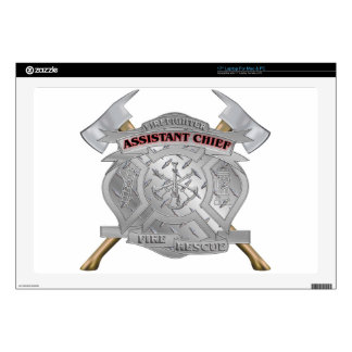 """Assistant Chief with Axe Dimond Plate 17"""" Laptop Decals"""