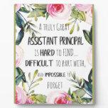 Assistant Principal Appreciation Secretary Thank Plaque