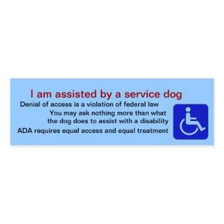 Assisted by service dog cards mini business card