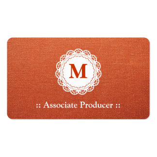 Associate Producer - Elegant Lace Monogram Double-Sided Standard Business Cards (Pack Of 100)