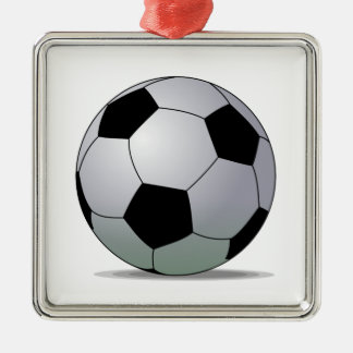 Association Football American Soccer Ball Square Metal Christmas Ornament