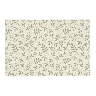 Assorted 2Way Green Leaves on Cream Pattern Placemat
