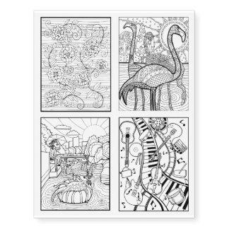 Assorted Austin Texas Line Art Designs Temporary Tattoos