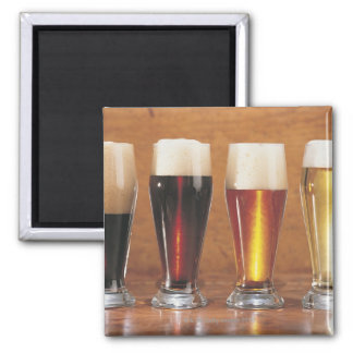 Assorted beers and ales 2 inch square magnet