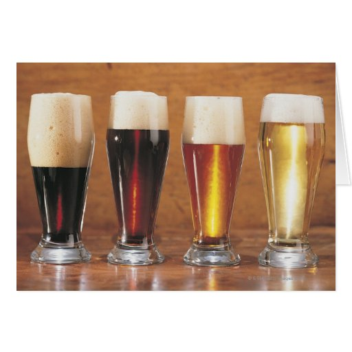 Assorted beers and ales greeting cards