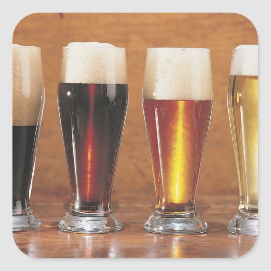 Assorted beers and ales square sticker