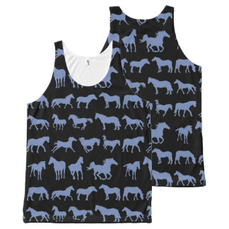 Assorted Blue Horse Breeds All-Over-Print Tank Top