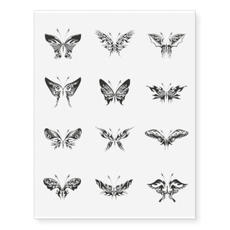 ASSORTED BUTTERFLY TEMPORARY TATTOO SET