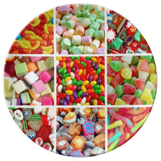 Assorted candy collage porcelain plate