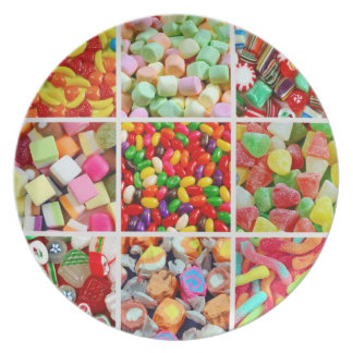 Assorted candy collage print melamine plate