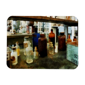 Assorted Chemicals in Bottles Rectangular Photo Magnet