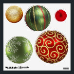 """Assorted Christmas Ornaments Wall Sticker<br><div class=""""desc"""">Brighten your Christmas decor with this wall decal of five varying size circles with images of Christmas ornaments. There's one each of gold glitter,  green glitter stripes,  red satin,  red and gold swirls,  green snowflake. See the entire Christmas Wall Decal collection in the HOLIDAYS section.</div>"""