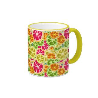 Assorted Citrus Fruit Slices Pattern Ringer Mug