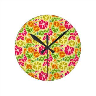 Assorted Citrus Fruit Slices Pattern Round Clock