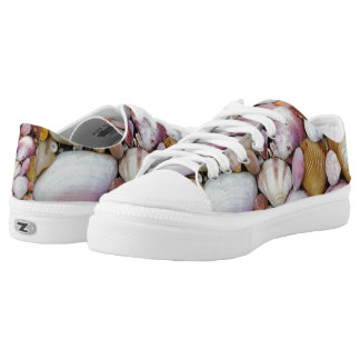 Assorted clams and oysters and sea shells printed shoes
