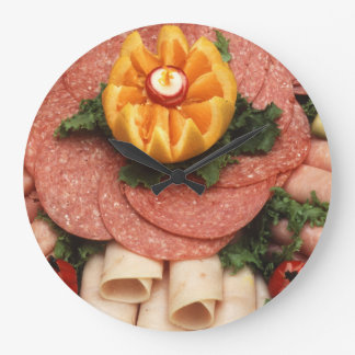 Assorted cold meats large clock