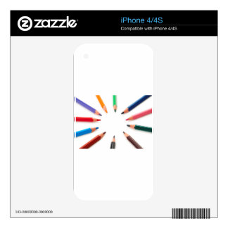 Assorted  colored pencils in a circle iPhone 4 decals