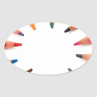 Assorted  colored pencils in a circle oval sticker