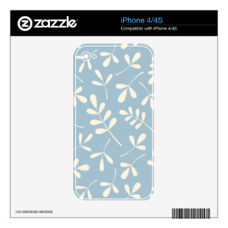 Assorted Cream Leaves on Blue Design iPhone 4 Skins