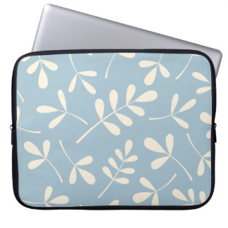Assorted Cream Leaves on Blue Design Laptop Sleeve