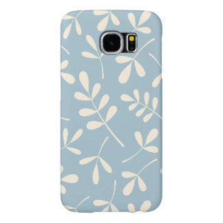 Assorted Cream Leaves on Blue Design Samsung Galaxy S6 Cases