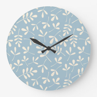 Assorted Cream Leaves on Blue Pattern Large Clock