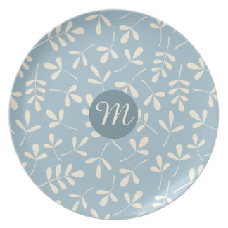 Assorted Cream Leaves on Blue Ptn (Personalized) Dinner Plate