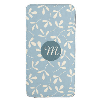 Assorted Cream Leaves on Blue Ptn (Personalized) Galaxy S4 Pouch