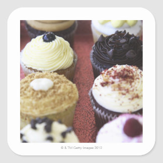 Assorted cupcakes square sticker