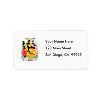 Assorted Digitalis Foxglove Seed Packet Address Label
