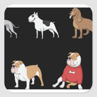 assorted dogs 1 square sticker