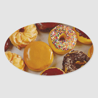 Assorted donuts oval sticker