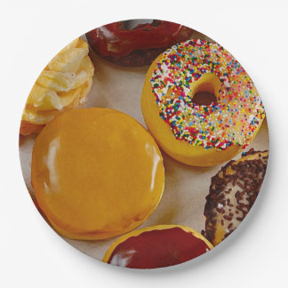 Assorted donuts paper plate