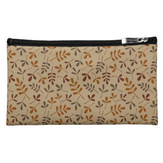Assorted Fall Leaves Repeat Pattern Cosmetic Bag