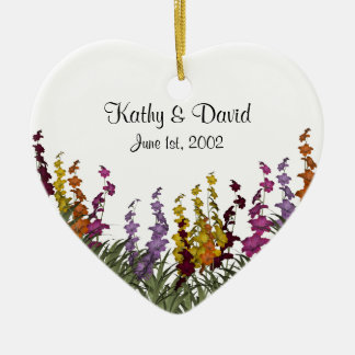 Assorted Flowers Wedding Ceramic Ornament